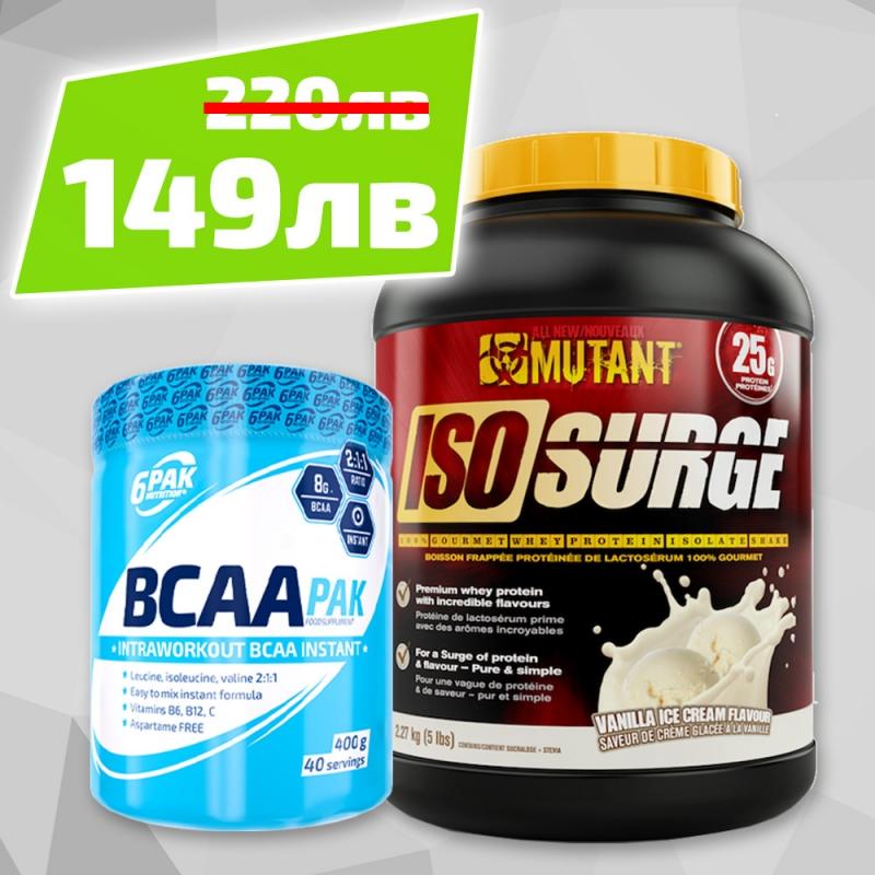 6PAK NUTRITION Bcaa Pak 400g + Mutant Iso Surge 5lbs