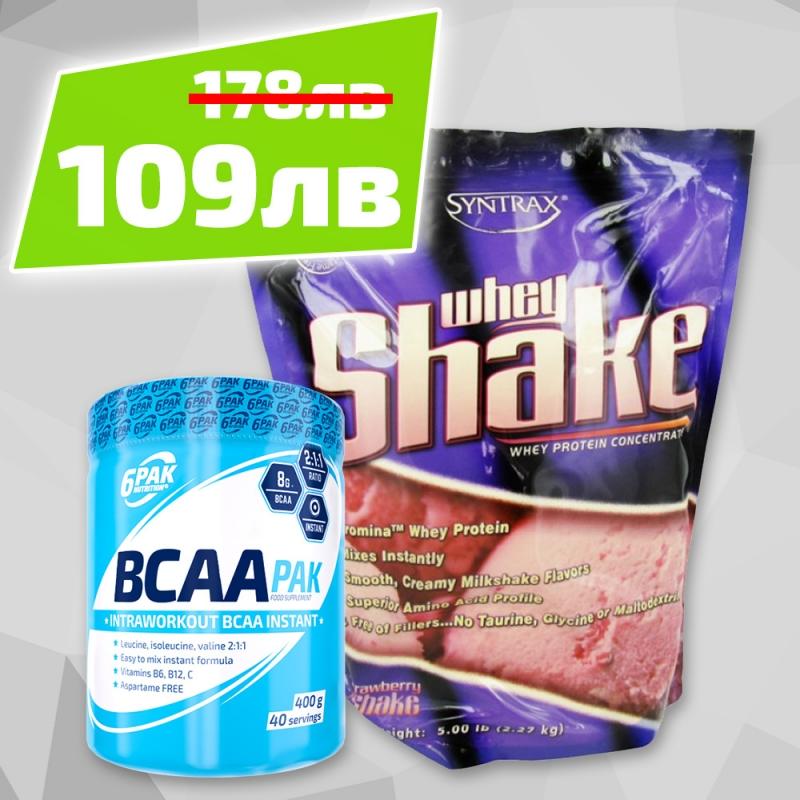Whey Shake + 6pak Bcaa Pak