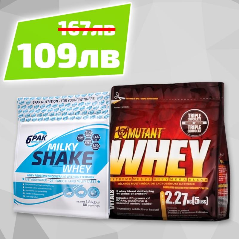 6PAK NUTRITION Milky Shake Whey 1800g + Mutant Whey 2.2kg