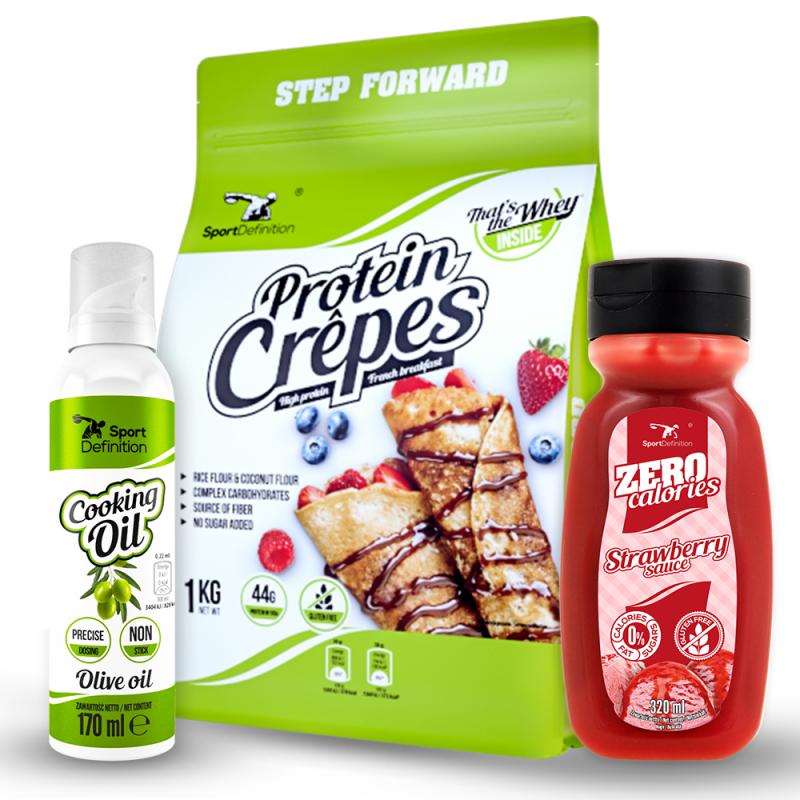 Protein Crepes 1kg + Zero Calories 320ml подарък + Cooking Spray Olive Oil подарък
