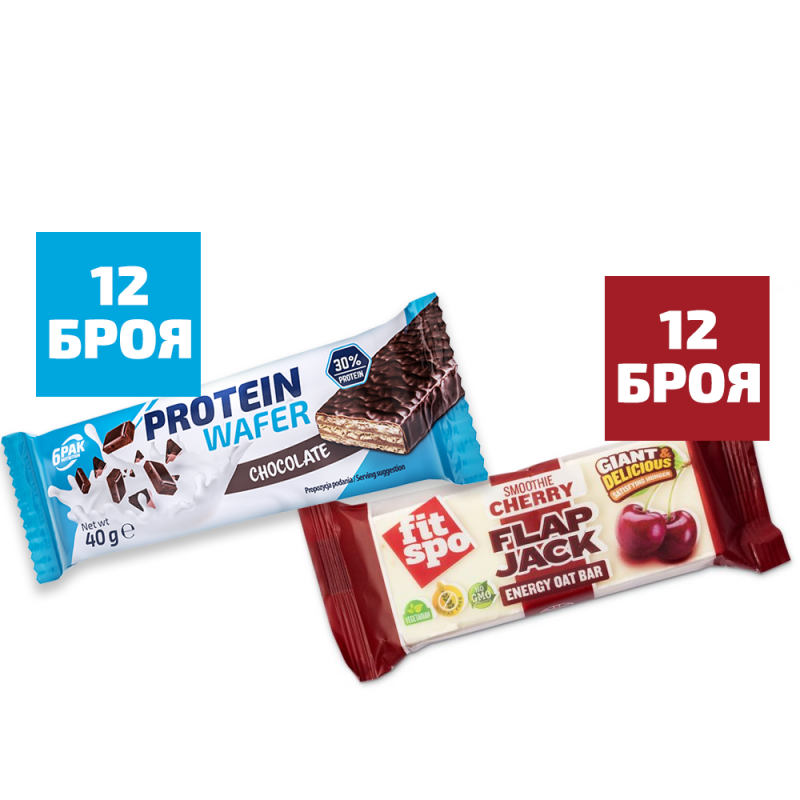 6PAK NUTRITION Protein Wafer 12 бр + Fit Spo Flap Jack Energy Oat Bar Smoothie Cherry 12 бр