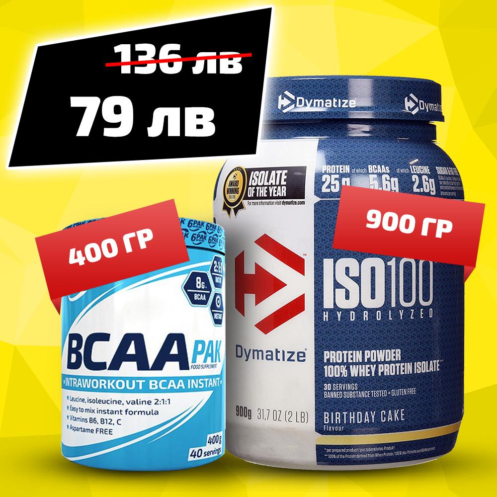 Iso 100 900g + 6pak Nutrition Bcaa Pak 400g