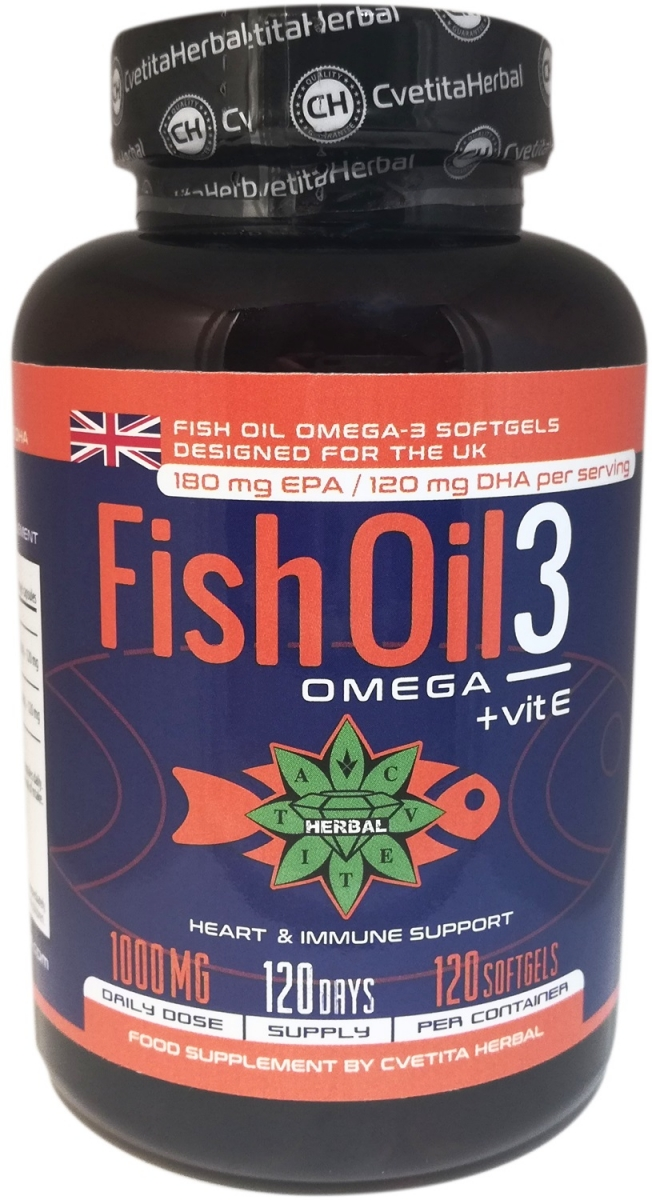 Cvetita Herbal Fish Oil 3: Omega + Vitamin E 120caps