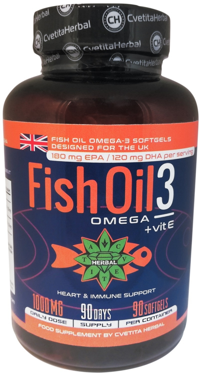 Cvetita Herbal Fish Oil 3: Omega + Vitamin E 90caps
