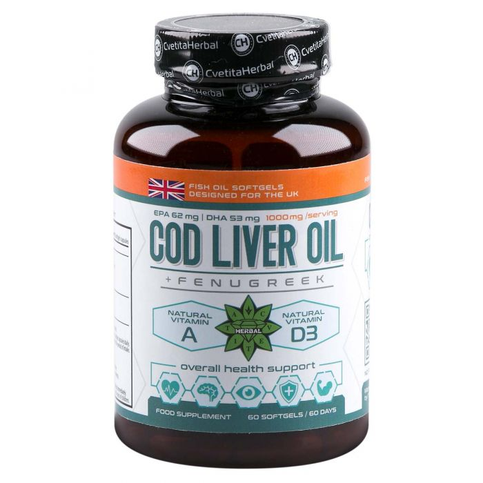 Cvetita Herbal Cod Liver Oil With Fenugreek - 60caps