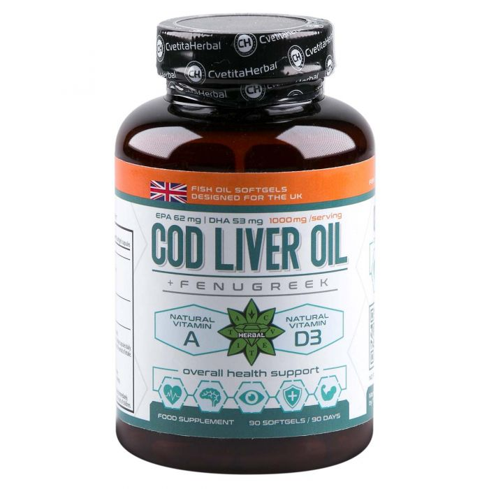 Cvetita Herbal Cod Liver Oil With Fenugreek - 90caps