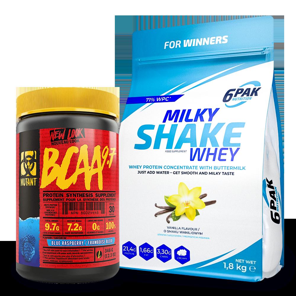 6PAK NUTRITION Milky Shake Whey 1800g + Mutant Bcaa 9.7