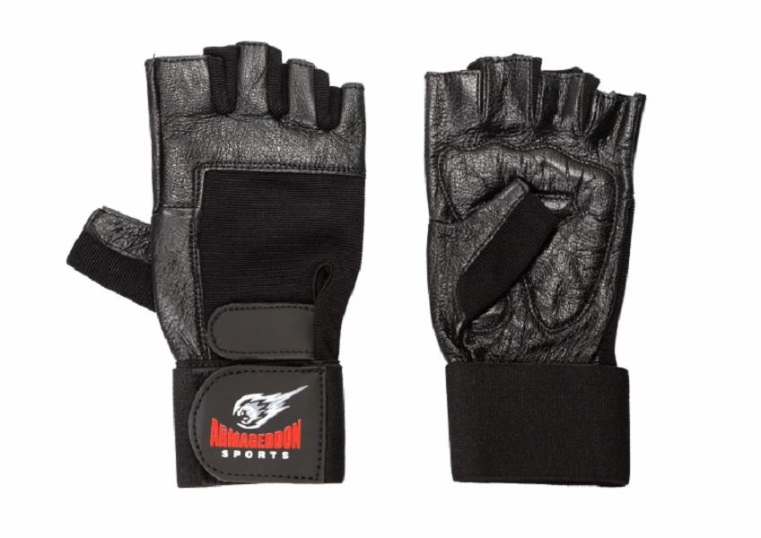 Armageddon Sports Мъжки фитнес ръкавици с накитници, черни