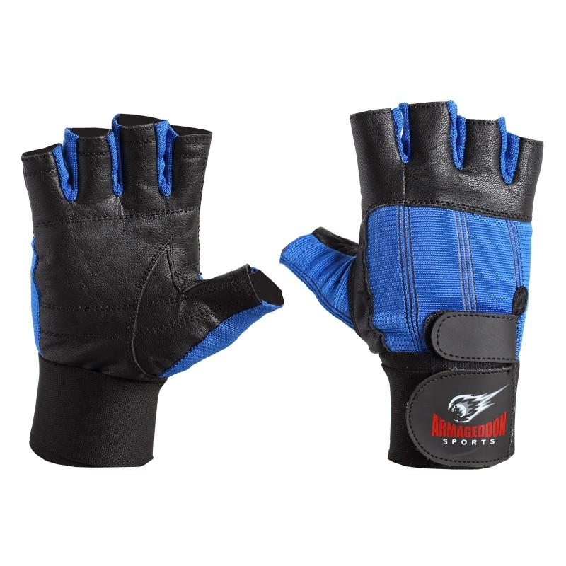 Armageddon Sports Мъжки фитнес ръкавици с накитници, черно-сини
