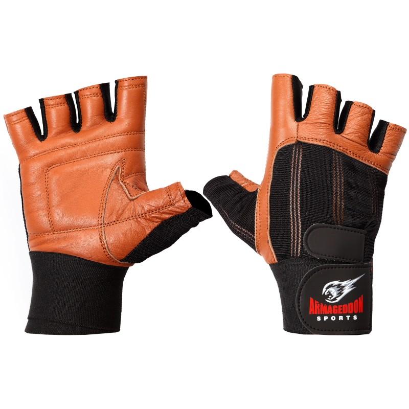 Armageddon Sports Мъжки фитнес ръкавици с накитници, черно-кафяви