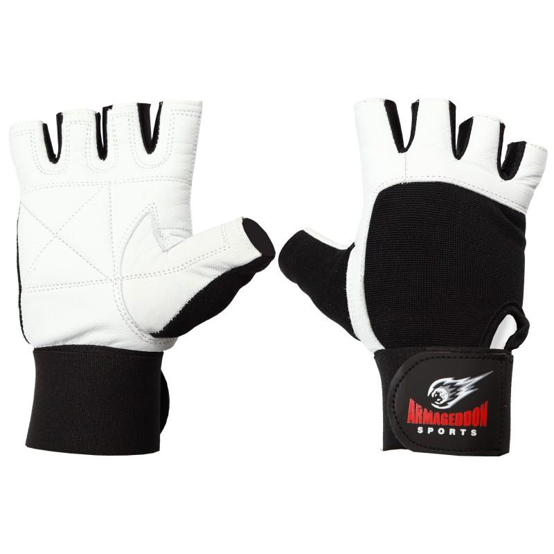Armageddon Sports Мъжки фитнес ръкавици с накитници, черно-бели
