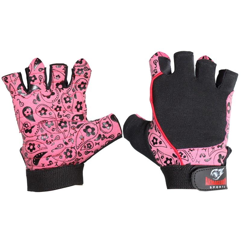 Armageddon Sports Дамски фитнес ръкавици Flower Pink