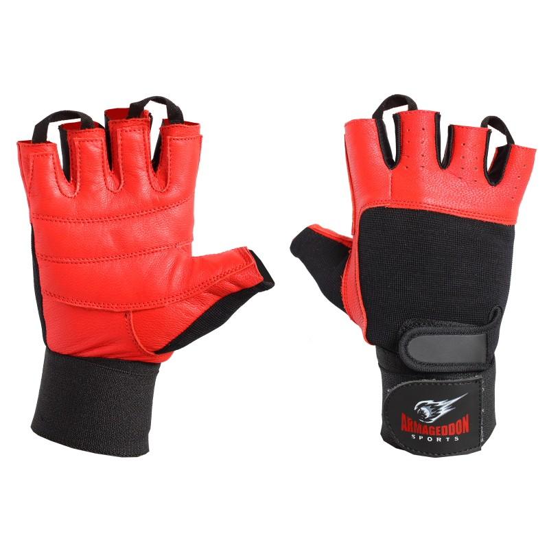 Armageddon Sports Мъжки фитнес ръкавици с накитници, черно-червени