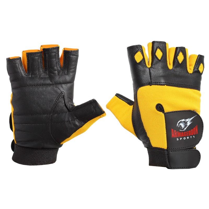 Armageddon Sports Мъжки фитнес ръкавици, черно-жълти