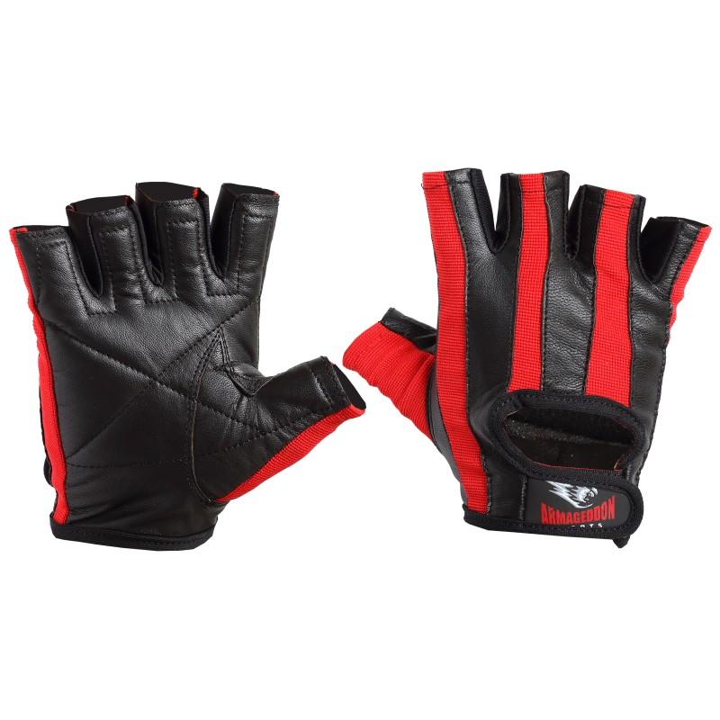 Armageddon Sports Мъжки фитнес ръкавици, черно-червени