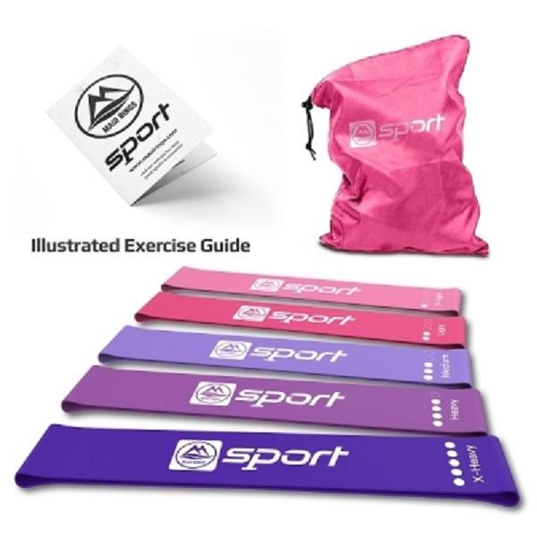 Комплект ластични ленти за упражнения - розови