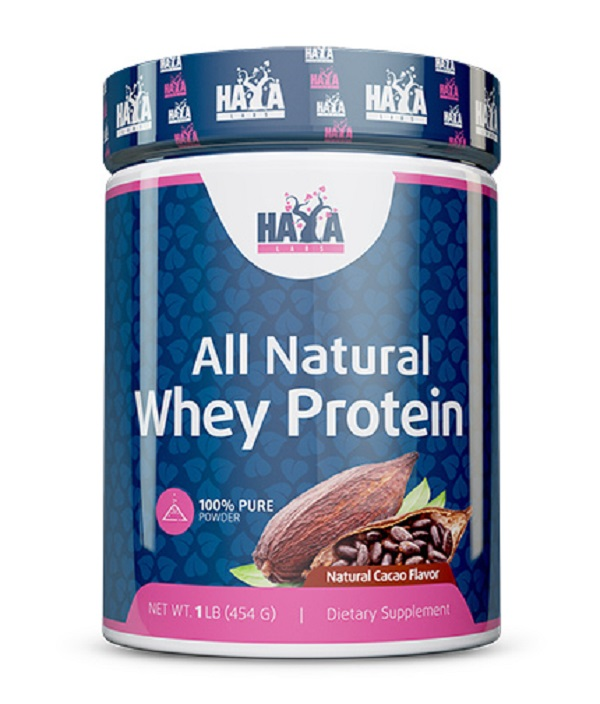 HAYA Labs 100% Pure All Natural Whey Protein Natural Cacao 454g