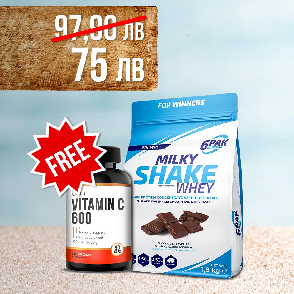 6PAK NUTRITION Milky Shake Whey 1,8kg + Ultra Vitamin C 90caps Free