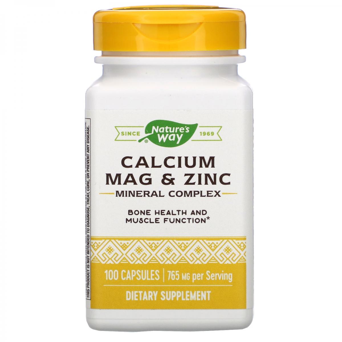Nature′s Way Calcium Mag & Zinc 255mg 100caps