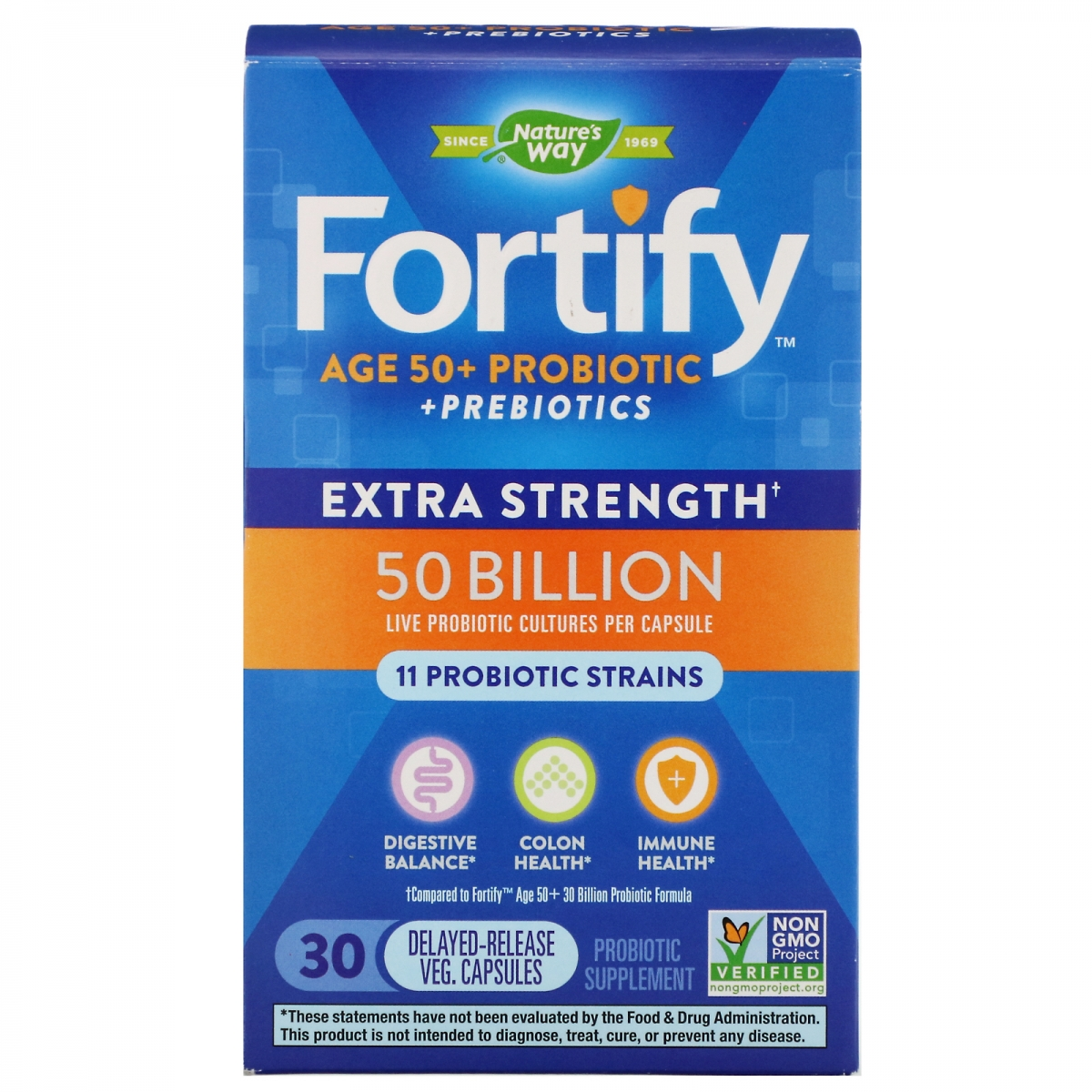 Nature′s Way Fortify Age 50+ 50 Billion Probiotics 30caps