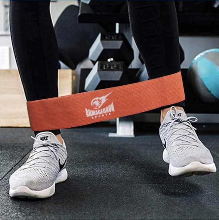 Armageddon Sports Оранжев тренировъчен ластик от текстил за тренировка на крака 5-10 кг
