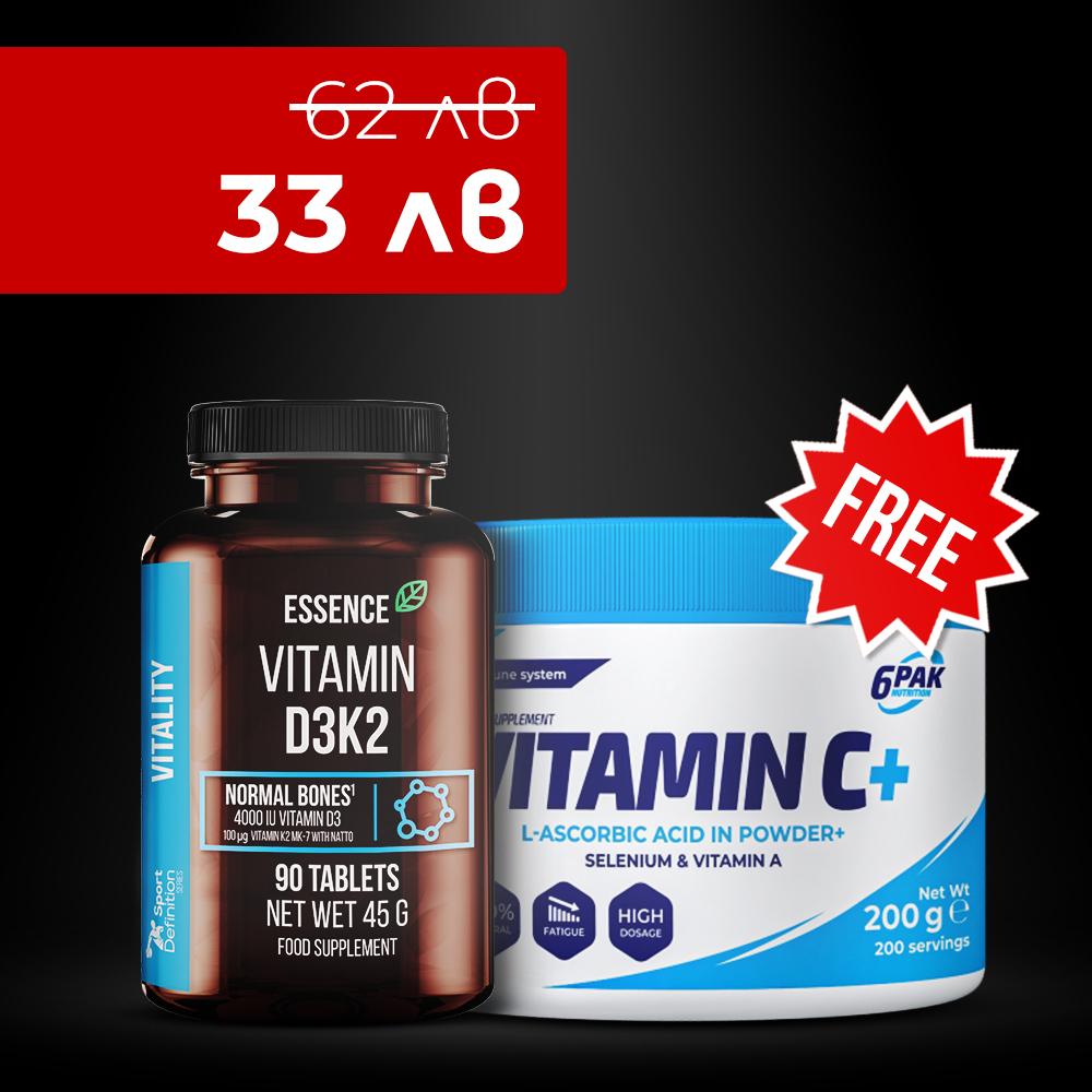 D3k2 90 Tabs + 6pak Vitamin C Plus Selenium, Vitamin A